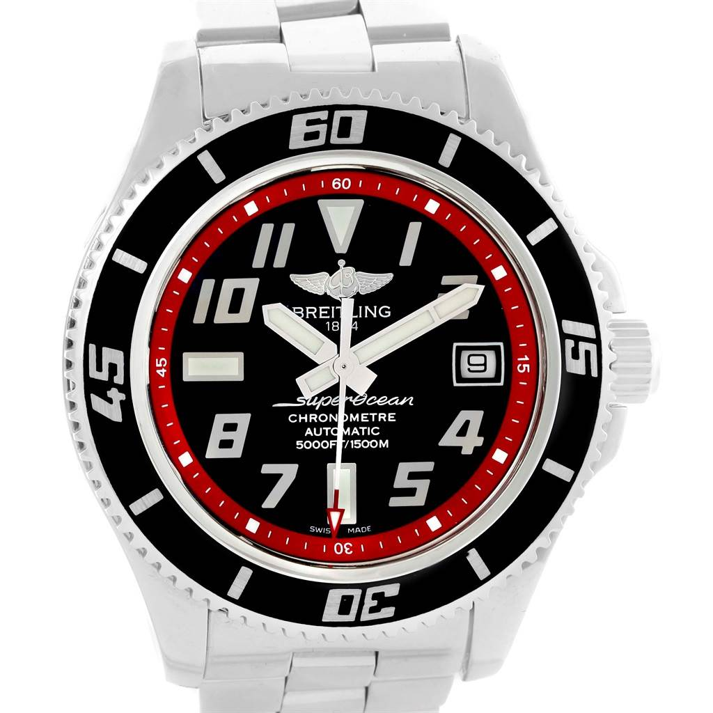 16601 Breitling Superocean 42 Abyss Black Red Steel Mens Watch A17364 SwissWatchExpo