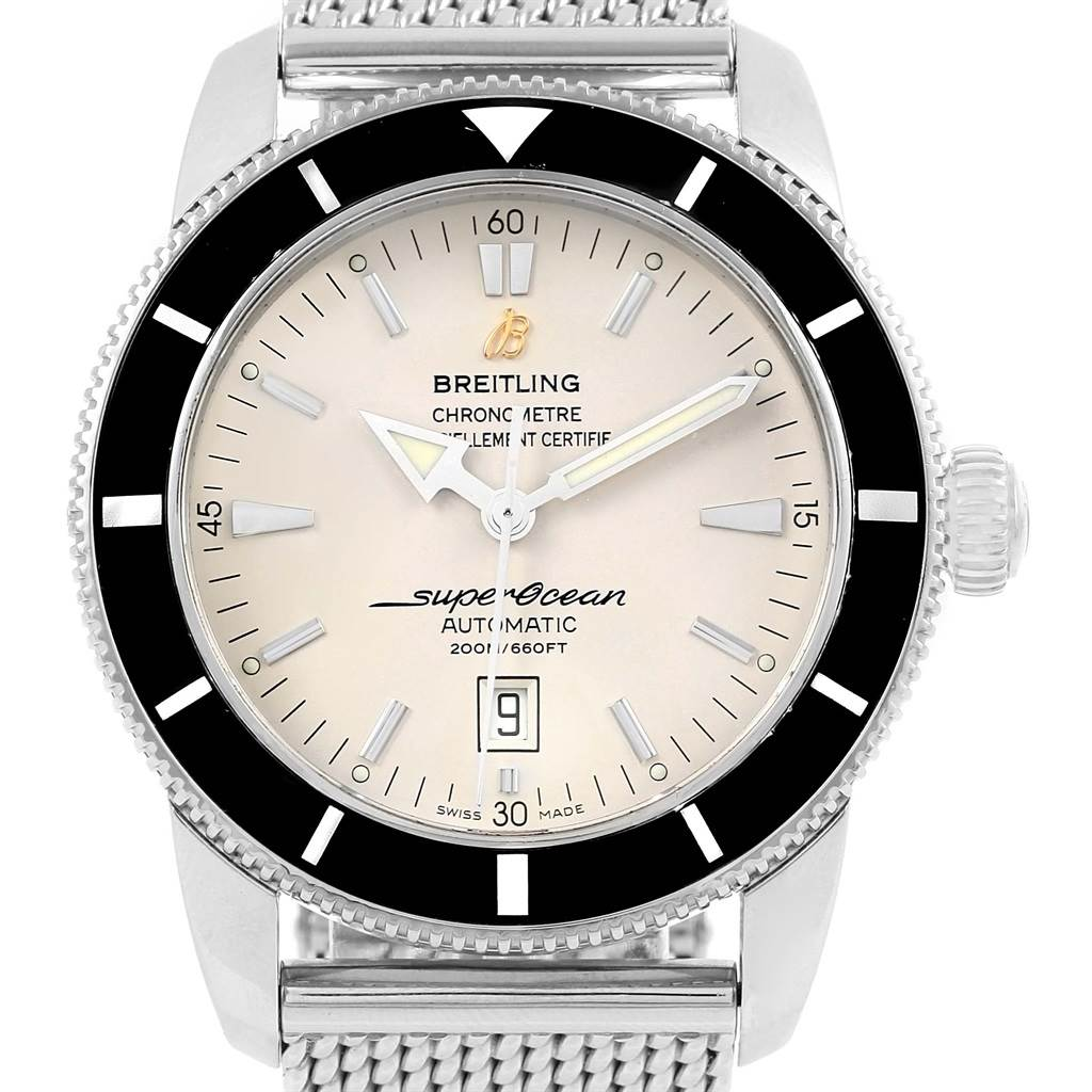 16606 Breitling Superocean Heritage 46 Silver Dial Mesh Bracelet Watch A17320 SwissWatchExpo