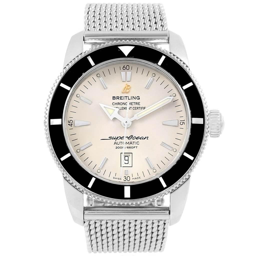 Breitling Superocean Heritage 46 Silver Dial Mesh Bracelet Watch A17320 SwissWatchExpo