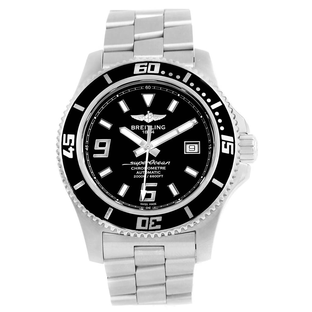 Breitling Aeromarine Superocean 44 Black Dial Mens Watch A17391 Box Papers SwissWatchExpo