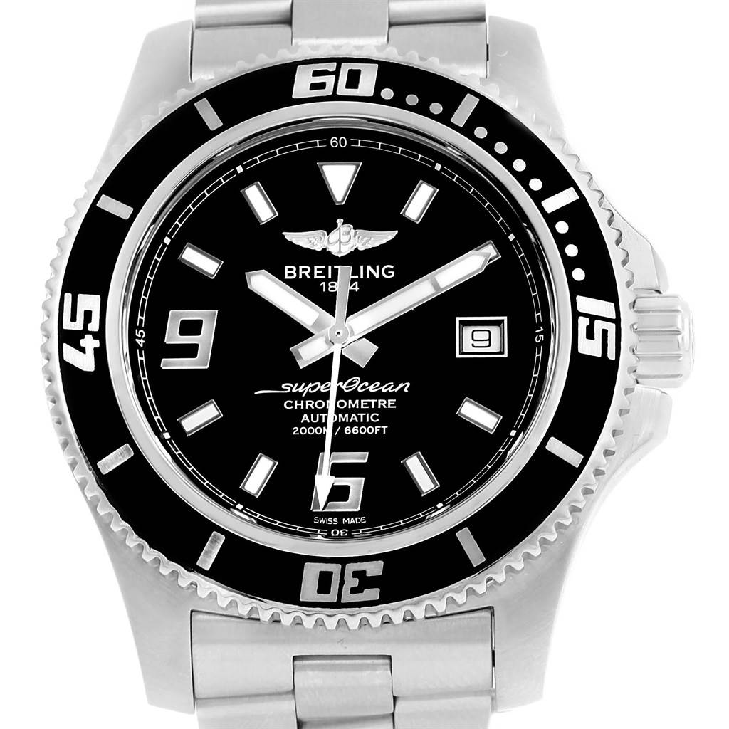 16620 Breitling Aeromarine Superocean 44 Black Dial Mens Watch A17391 Box Papers SwissWatchExpo