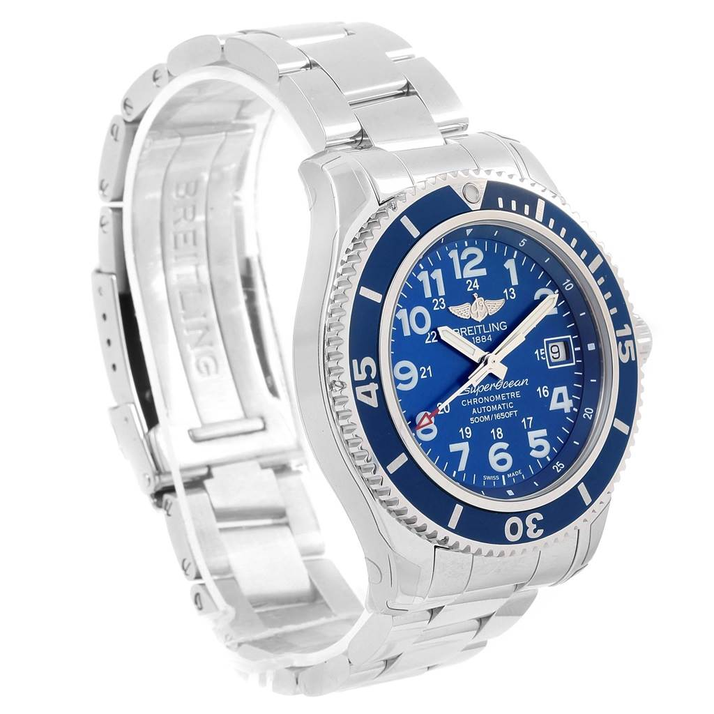 16604 Breitling Superocean II Blue Dial Steel Mens Watch A17365 Unworn SwissWatchExpo