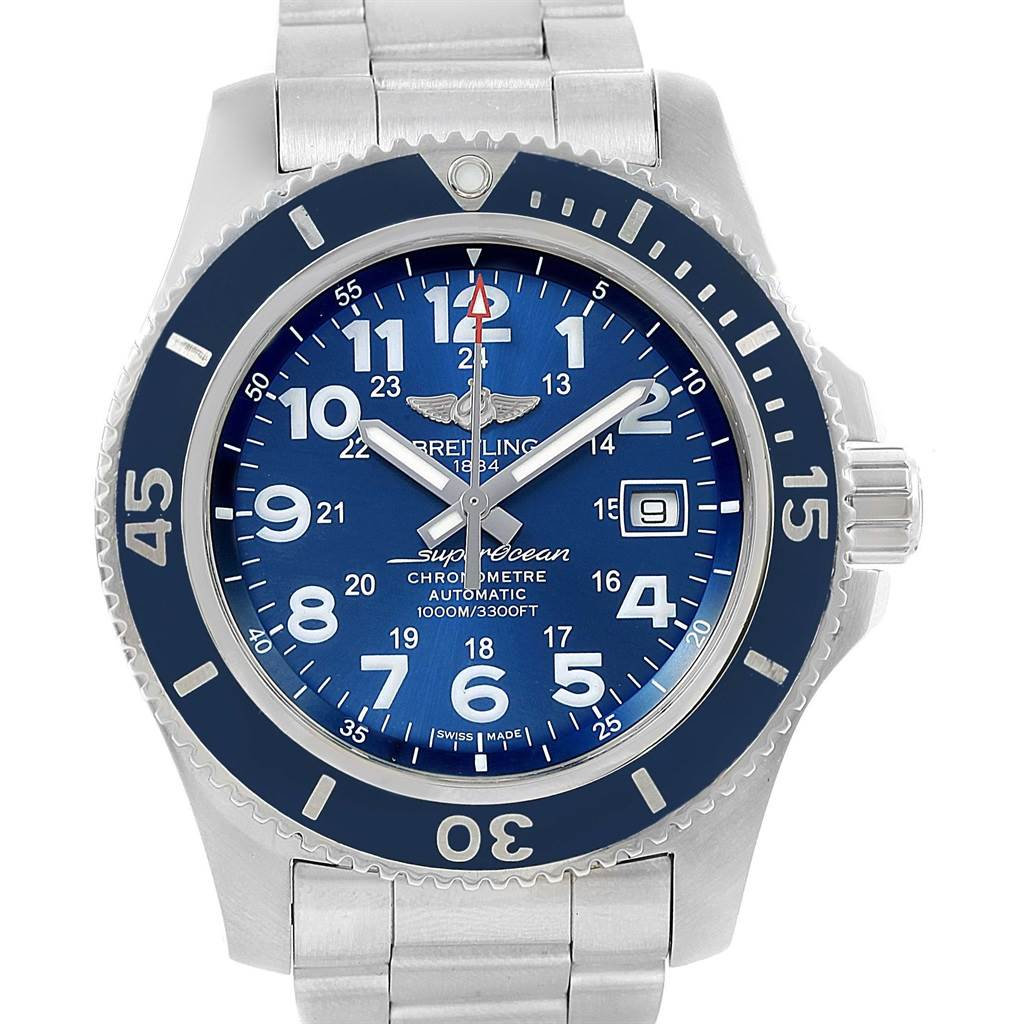 16605 Breitling Superocean II 44 Gun Blue Dial Steel Mens Watch A17392 SwissWatchExpo