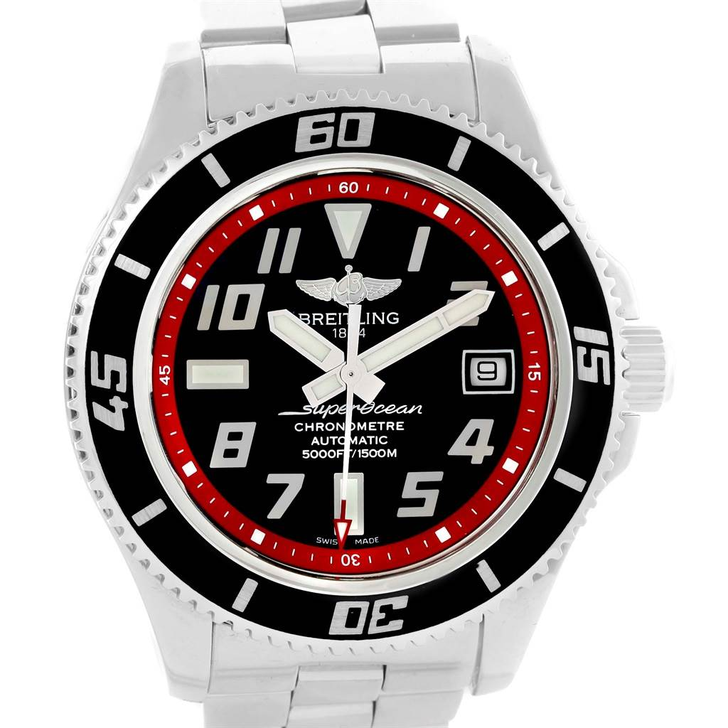 16690 Breitling Superocean 42 Abyss Black Red Automatic Mens Watch A17364 SwissWatchExpo
