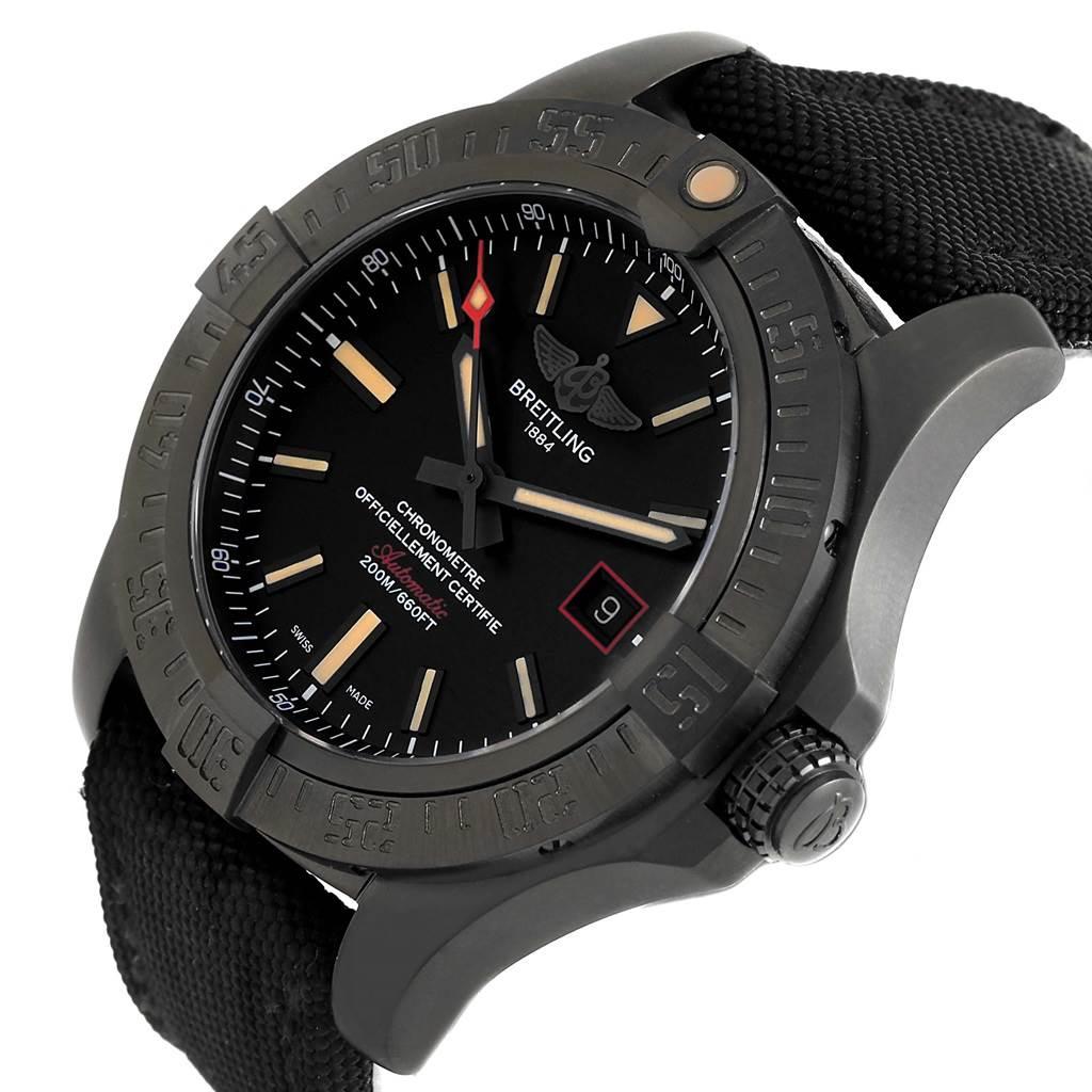 Breitling Avenger Blackbird Titanium Canvas Strap Mens Watch V17311 SwissWatchExpo