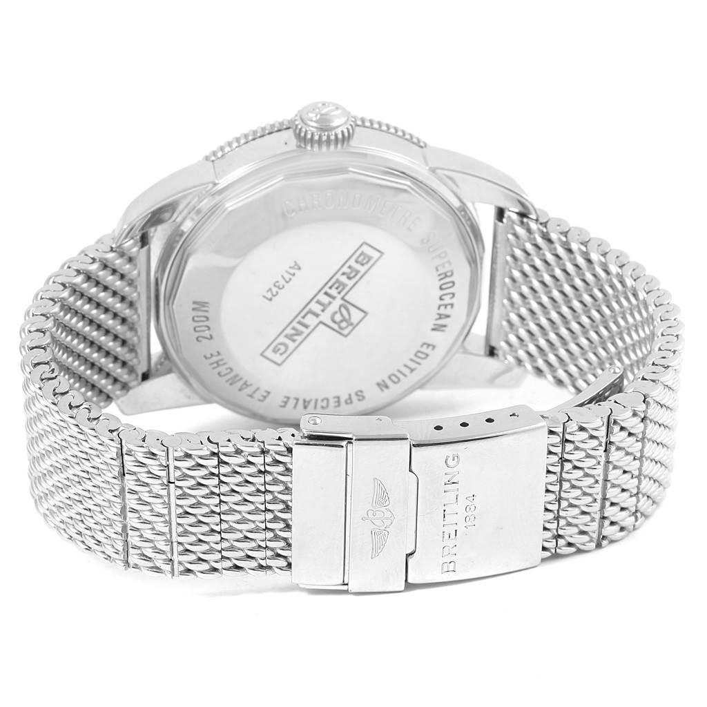16878 Breitling Superocean Heritage 42 Black Bezel Mesh Bracelet Watch A17321 SwissWatchExpo