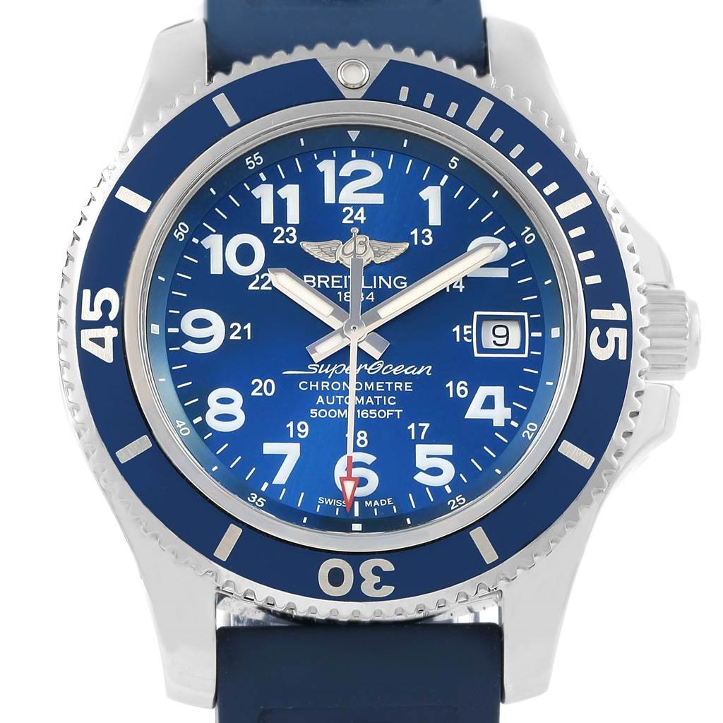 16913 Breitling Superocean II Blue Dial Rubber Strap Mens Watch A17365 SwissWatchExpo