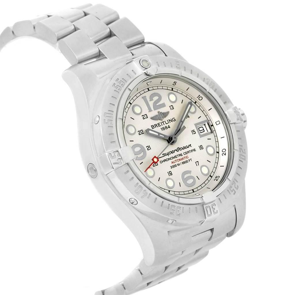 16045 Breitling Aeromarine Superocean Steelfish Silver Dial Mens Watch A17390 SwissWatchExpo