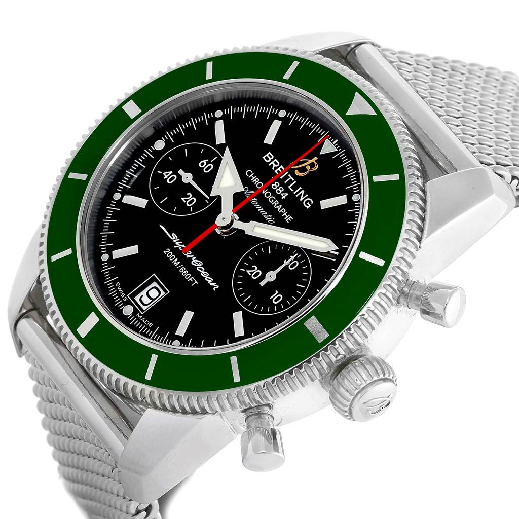 15533 Breitling SuperOcean Heritage 44 Green Bezel Chronograph Watch A23370 SwissWatchExpo