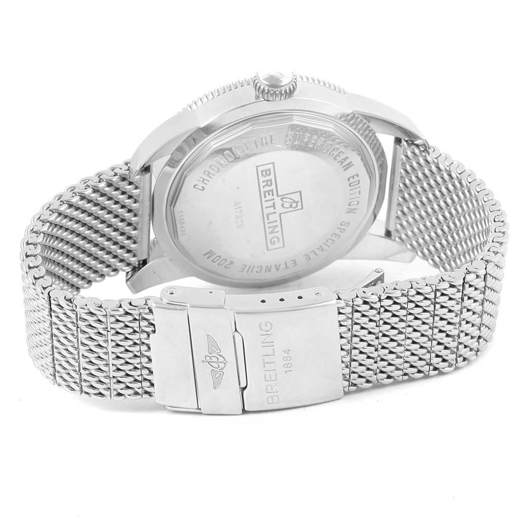 17081 Breitling Superocean Heritage 46 Black Dial Mesh Bracelet Watch A17320 SwissWatchExpo