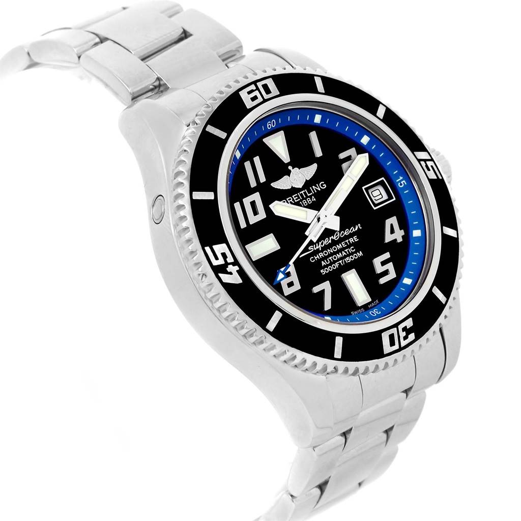 17091 Breitling Superocean 42 Abyss Black Blue Dial Watch A17364 Box Papers SwissWatchExpo