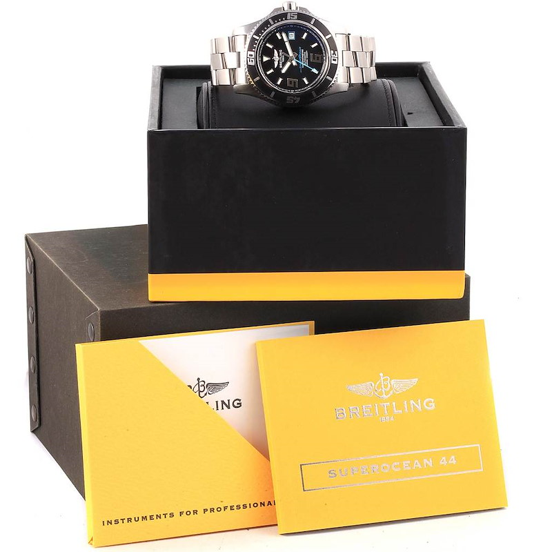 Breitling Aeromarine Superocean 44 Blue Hand Mens Watch A17391 Box SwissWatchExpo