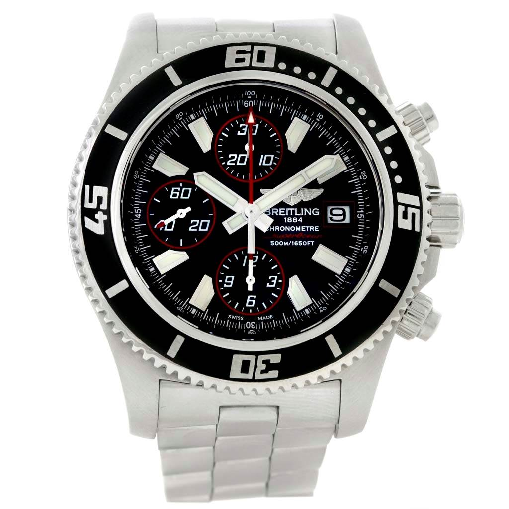11474 Breitling Aeromarine SuperOcean II Black Red Chronograph Watch A13341 SwissWatchExpo