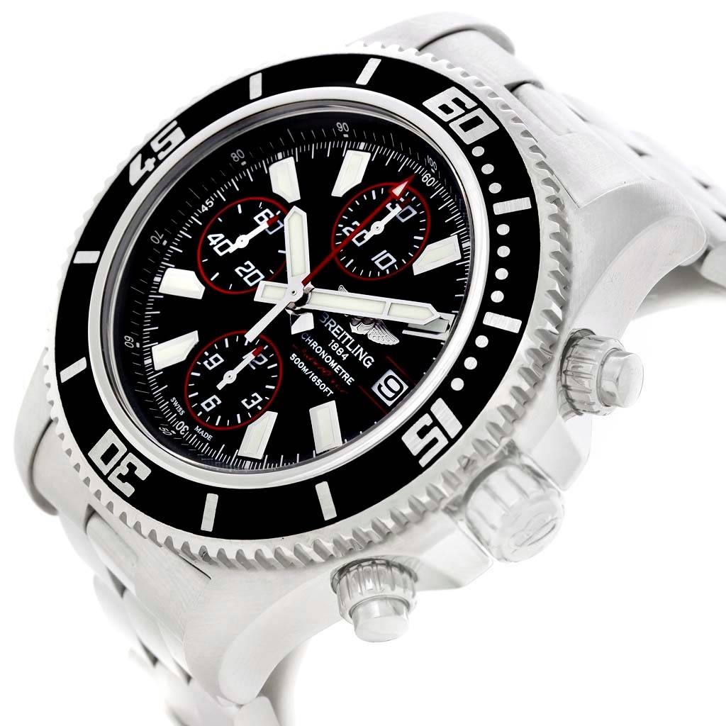 Breitling Aeromarine SuperOcean II Black Red Chronograph Watch A13341 SwissWatchExpo