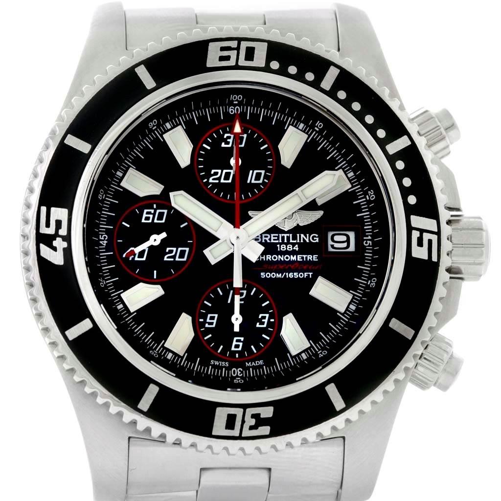 Breitling Aeromarine SuperOcean II Black Red Chronograph Watch A13341 SwissWatchExpo