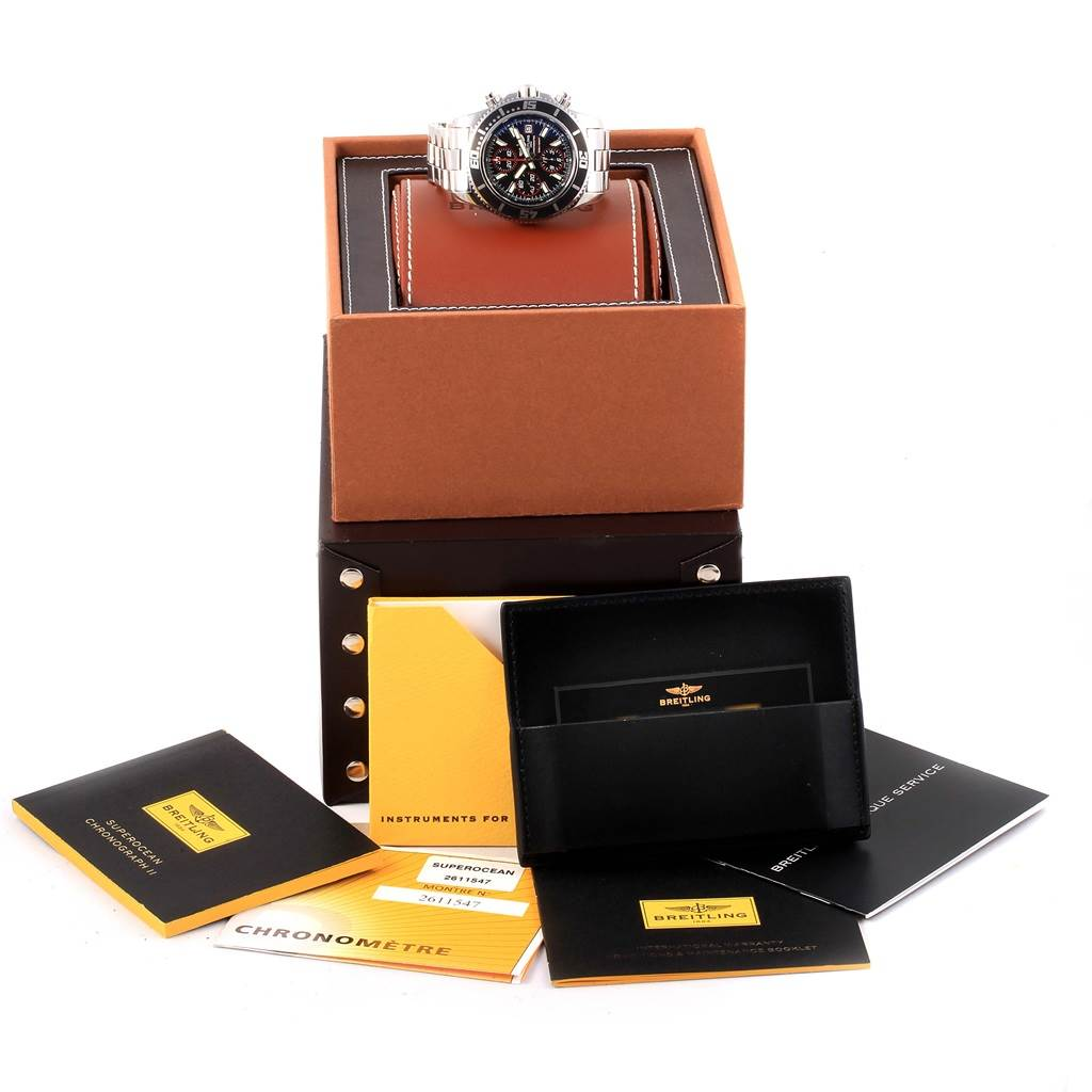 17083 	   Breitling Aeromarine SuperOcean II Chronograph Watch A13341 Box Papers SwissWatchExpo