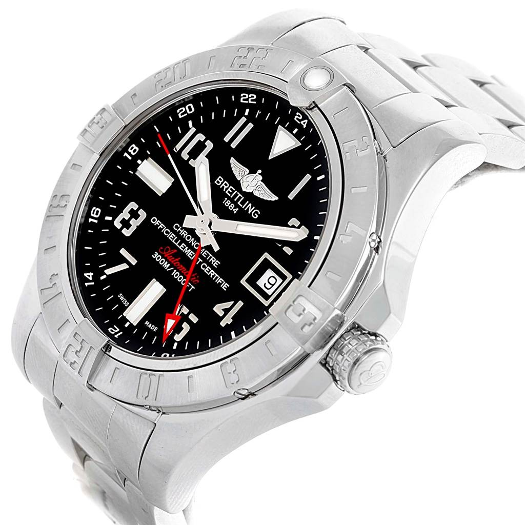 17073 Breitling Aeromarine Avenger II GMT Black Dial Watch A32390 Papers SwissWatchExpo