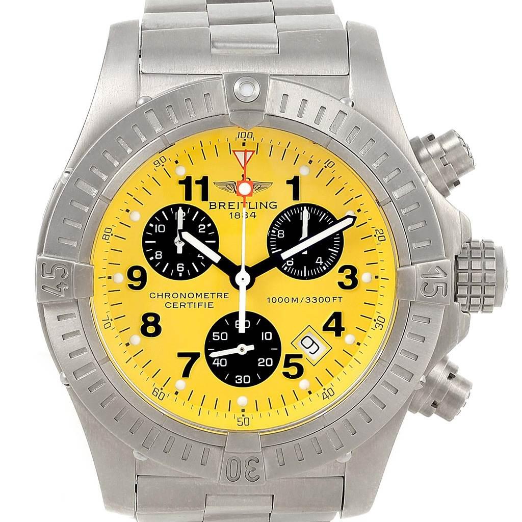17110 Breitling Aeromarine Chrono Avenger M1 Yellow Dial Titanium Watch E73360 SwissWatchExpo
