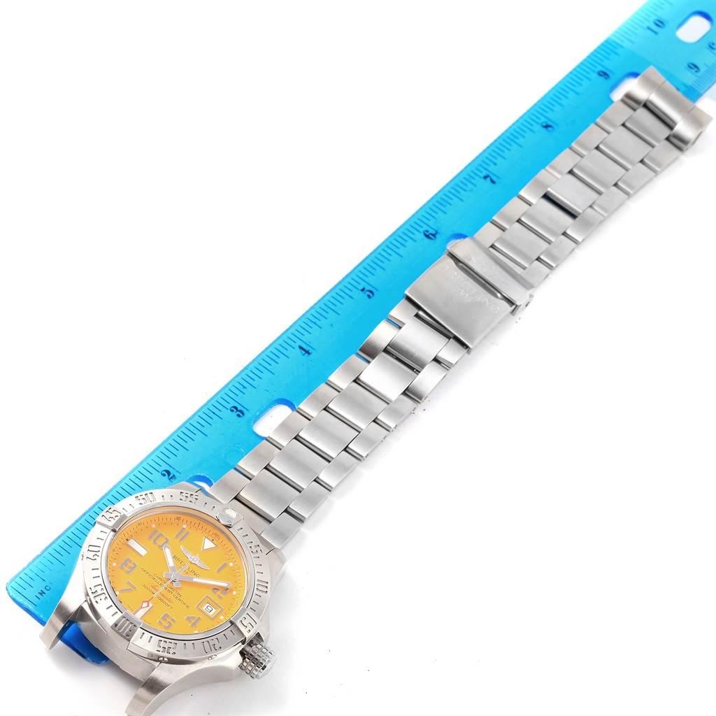 17090 Breitling Aeromarine Avenger II Seawolf Yellow Dial Mens Watch A17331 SwissWatchExpo