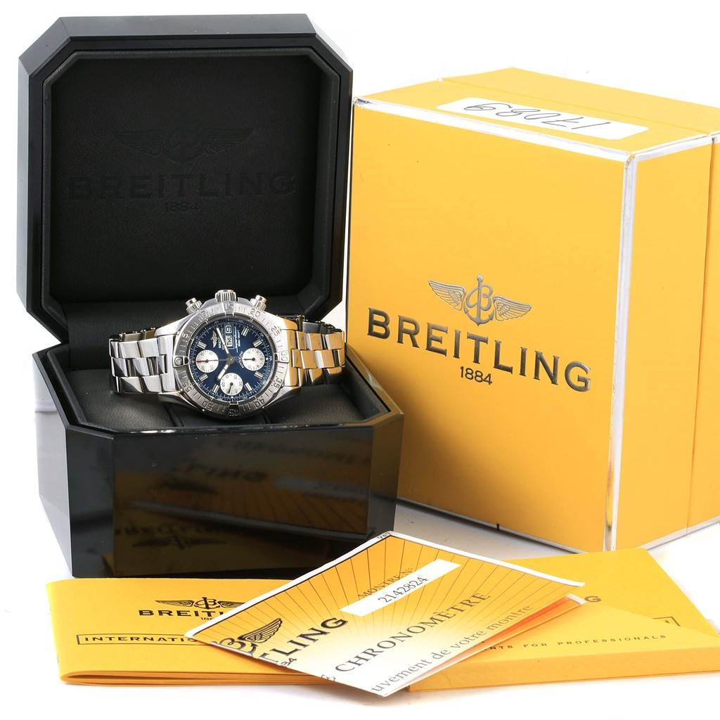 17089 Breitling Aeromarine Superocean Blue Dial Mens Watch A13340 Box Papers SwissWatchExpo