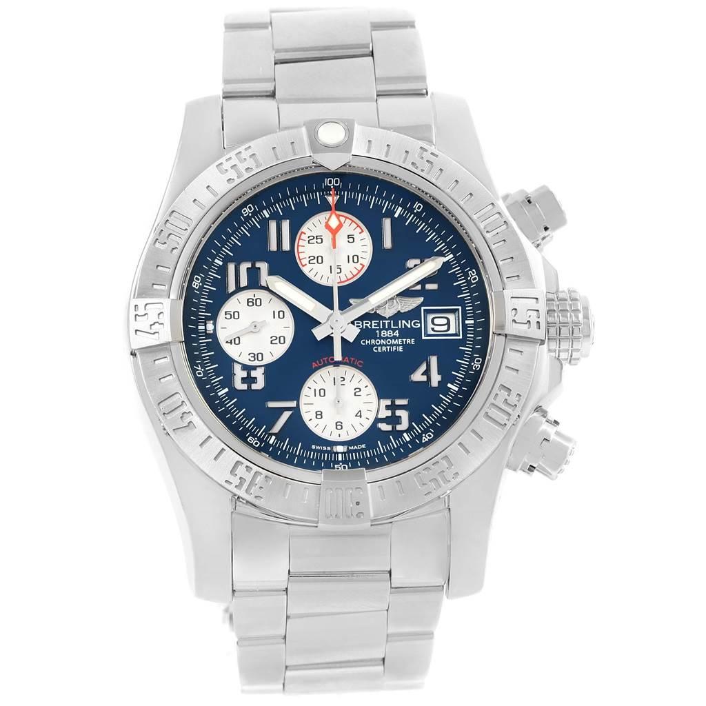 Breitling Aeromarine Avenger II Blue Dial Chronograph Watch A13381 SwissWatchExpo