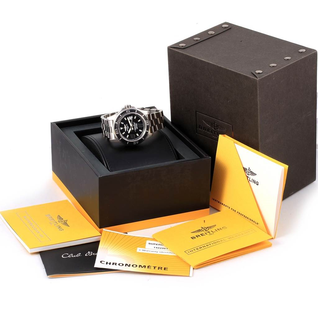Breitling Aeromarine Superocean 44 Black Dial Watch A17391 Box Papers SwissWatchExpo