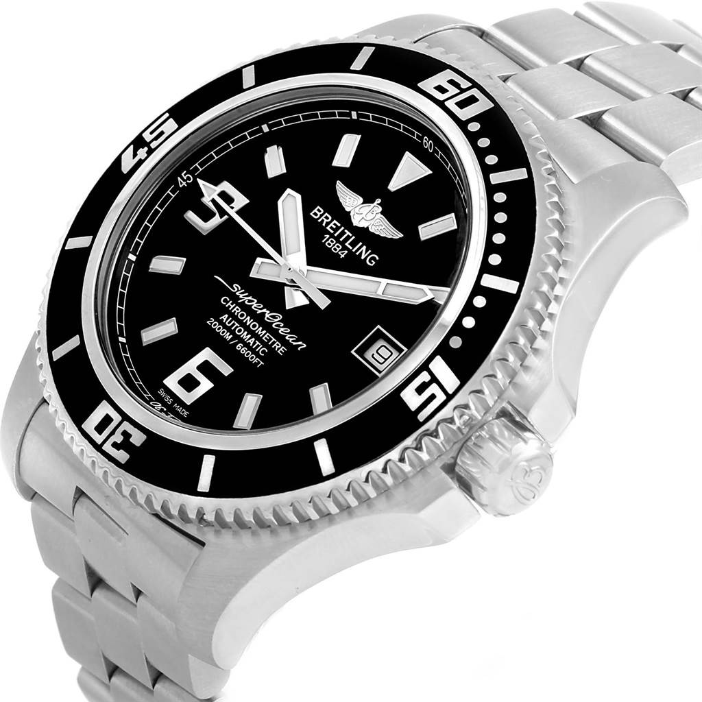 17093 Breitling Aeromarine Superocean 44 Black Dial Watch A17391 Box Papers SwissWatchExpo