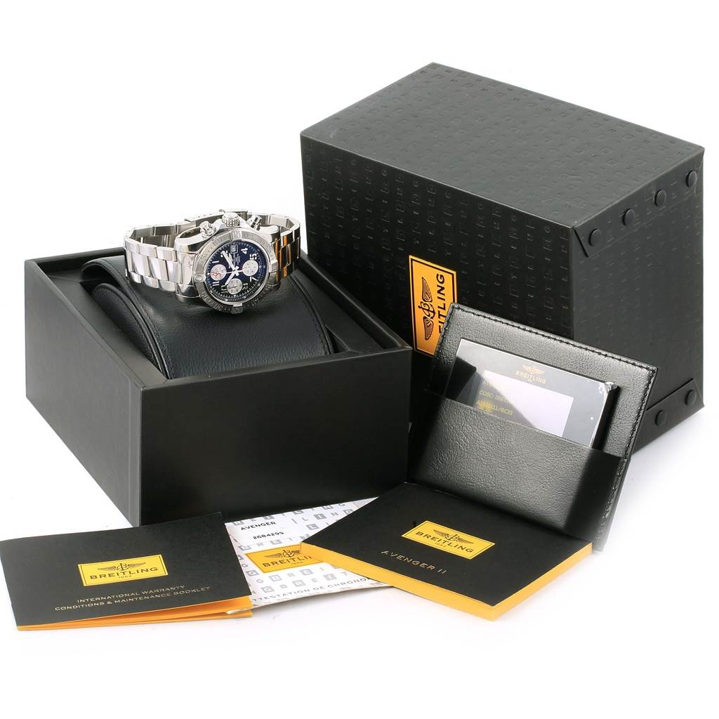 17094 Breitling Aeromarine Super Avenger Black Dial Watch A13381 Box Papers SwissWatchExpo