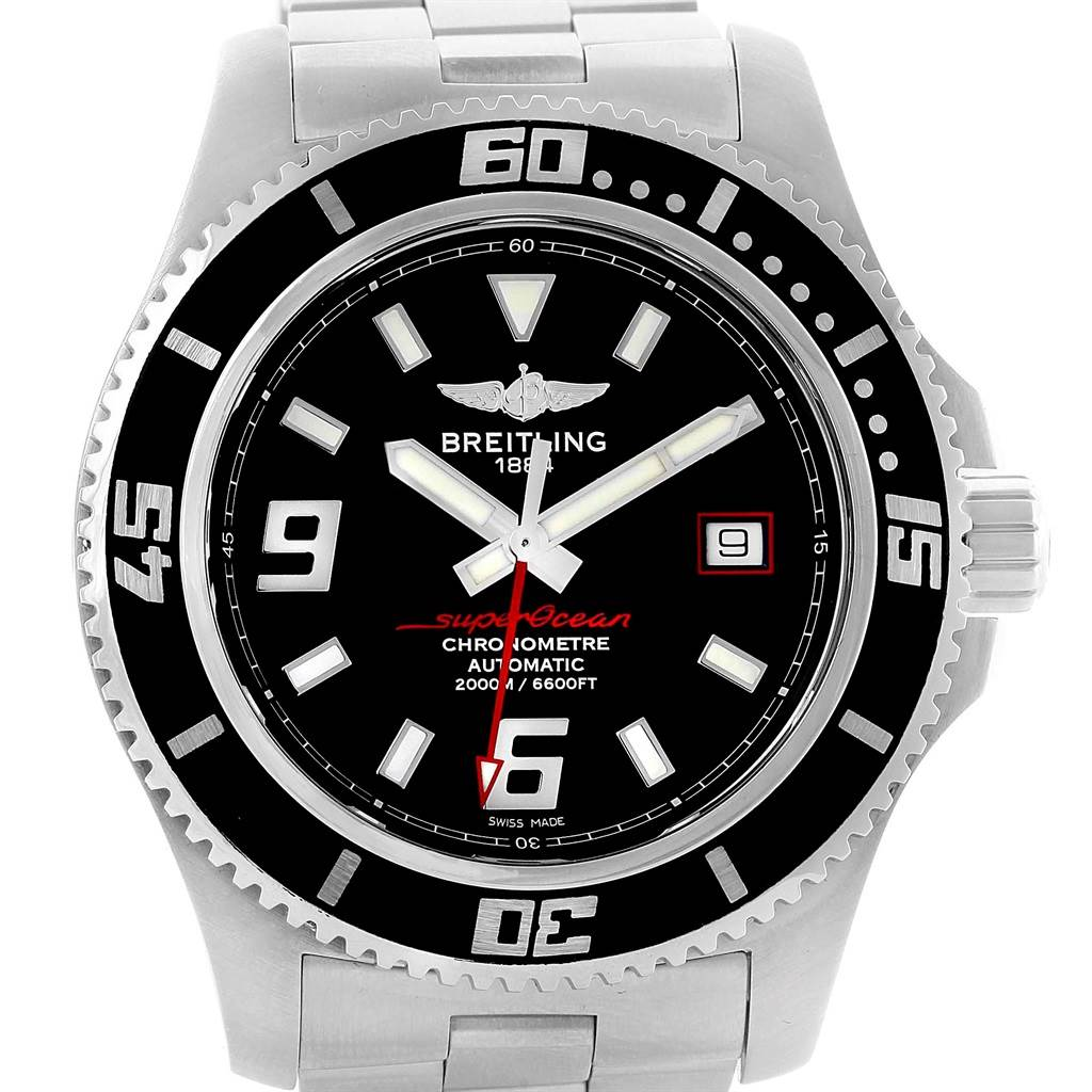 17098 Breitling Aeromarine Superocean 44 Red Hand Watch A17391 Box Papers SwissWatchExpo