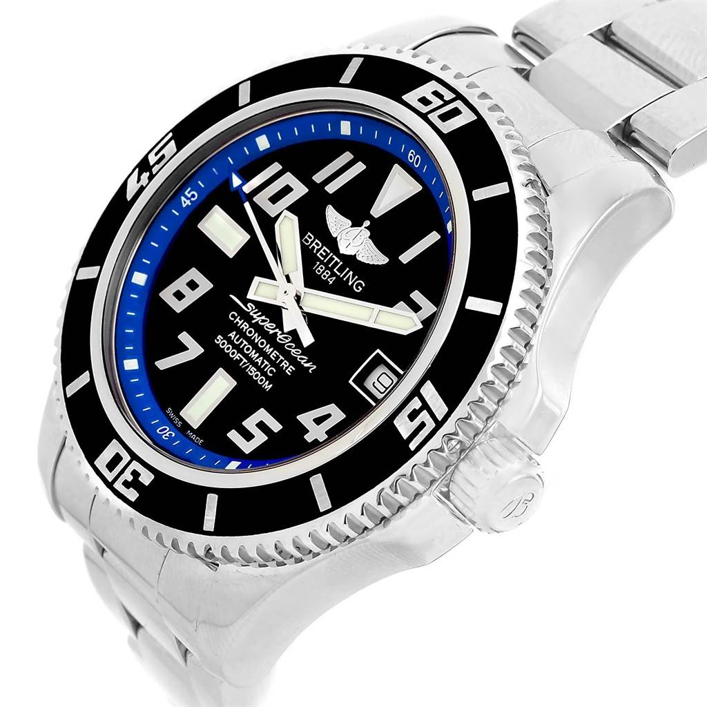 Breitling Superocean 42 Abyss Black Blue Dial Watch A17364 Box SwissWatchExpo