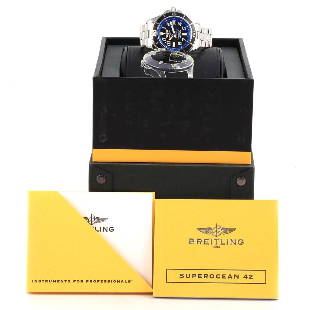 17084 Breitling Superocean 42 Abyss Black Blue Dial Watch A17364 Box SwissWatchExpo