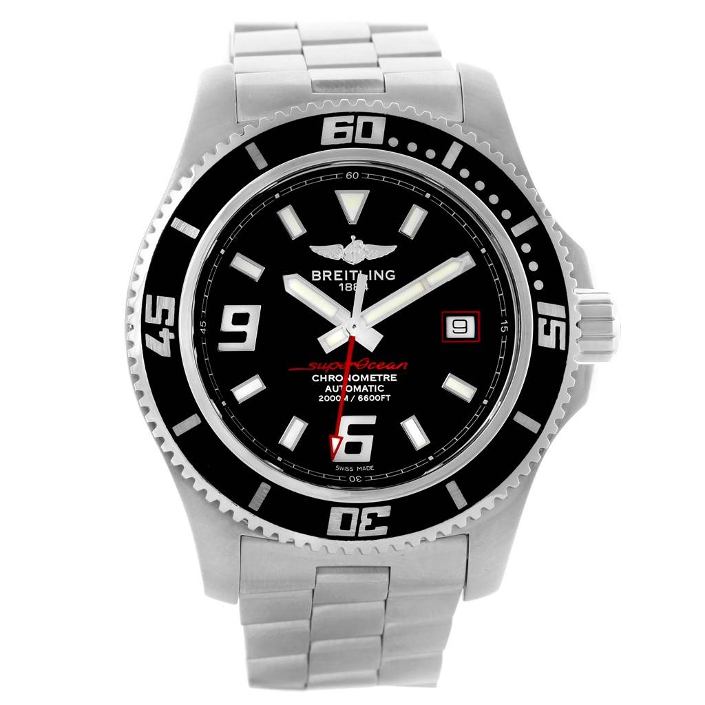 15513 Breitling Aeromarine Superocean 44 Red Hand Steel Mens Watch A17391 SwissWatchExpo