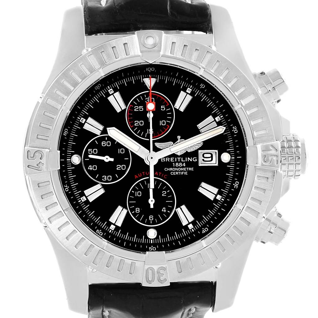 15909 Breitling Aeromarine Super Avenger Black Dial Watch A13370 Box Papers SwissWatchExpo