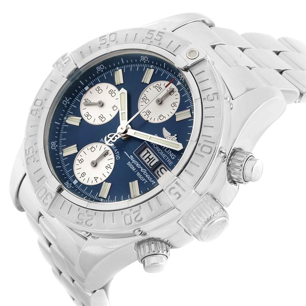 17285 Breitling Aeromarine Superocean Blue Dial Mens Watch A13340 Box SwissWatchExpo