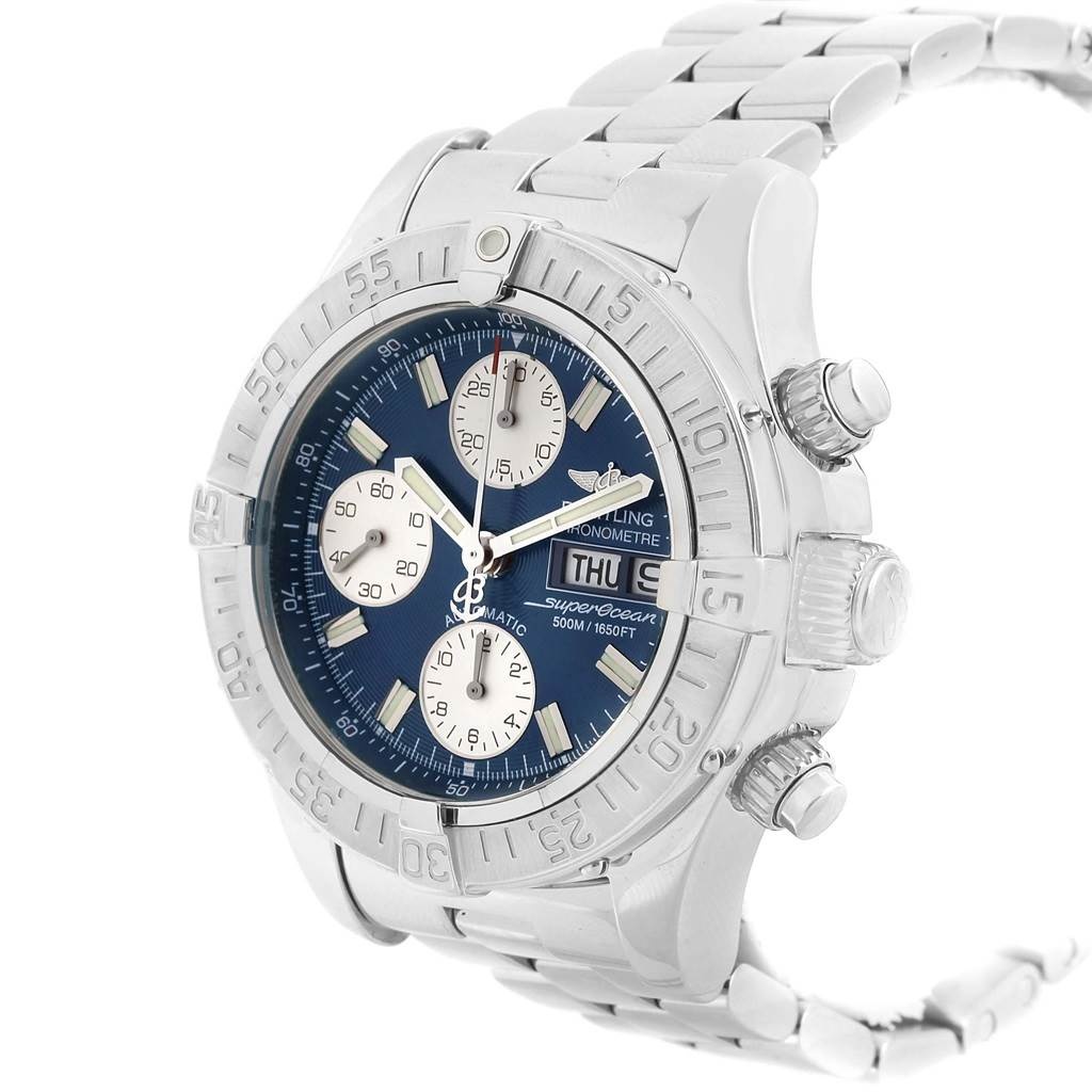 Breitling Aeromarine Superocean Blue Dial Mens Watch A13340 Box SwissWatchExpo