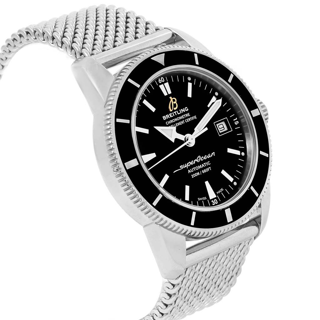 17291 Breitling Superocean Heritage 42 Mesh Bracelet Watch A17321 Box Papers SwissWatchExpo