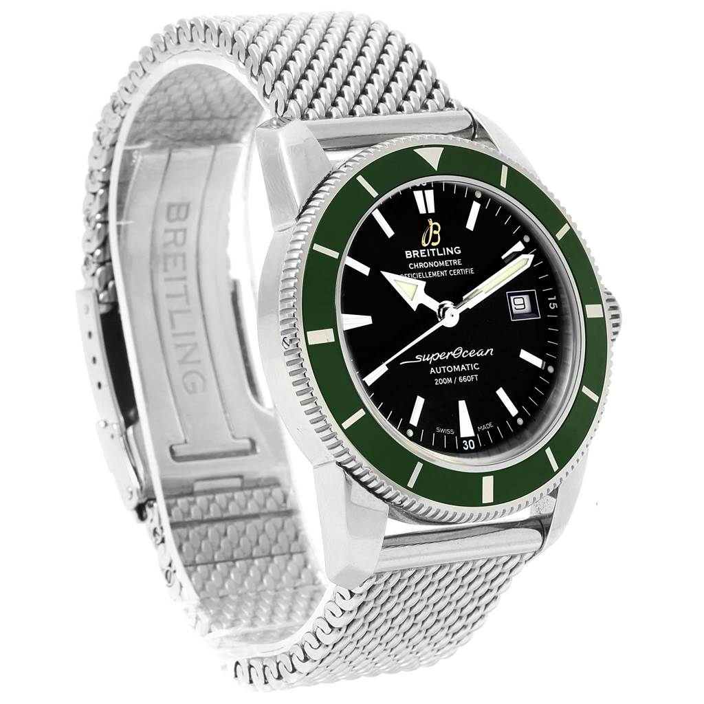 17282 Breitling Superocean Heritage 42 Green Bezel Mens Watch A17321 SwissWatchExpo
