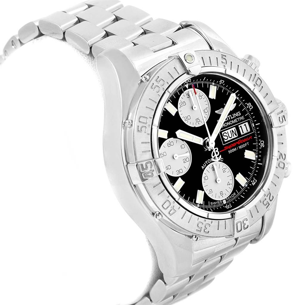 17302 Breitling Aeromarine Superocean Black Dial Mens Watch A13340 Box Papers SwissWatchExpo