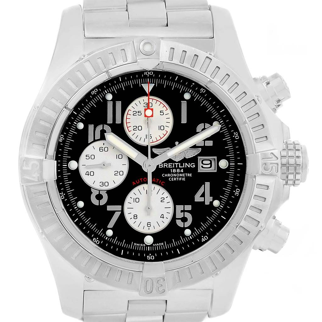 17307 Breitling Aeromarine Super Avenger Black Dial Mens Watch A13370 SwissWatchExpo