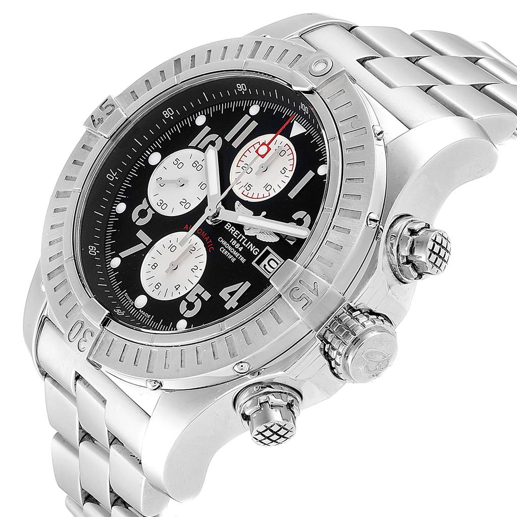 Breitling Aeromarine Super Avenger Black Dial Mens Watch A13370 SwissWatchExpo