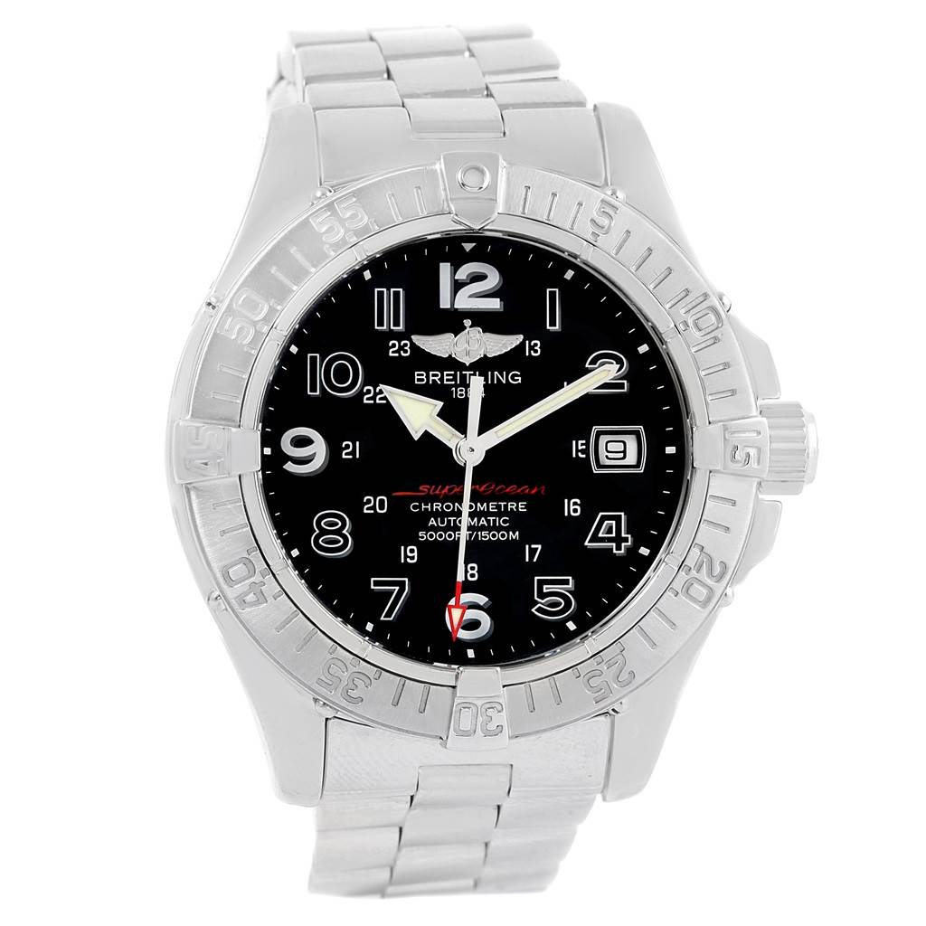 17283 Breitling Aeromarine SuperOcean Steel Mens Watch A13360 Papers SwissWatchExpo