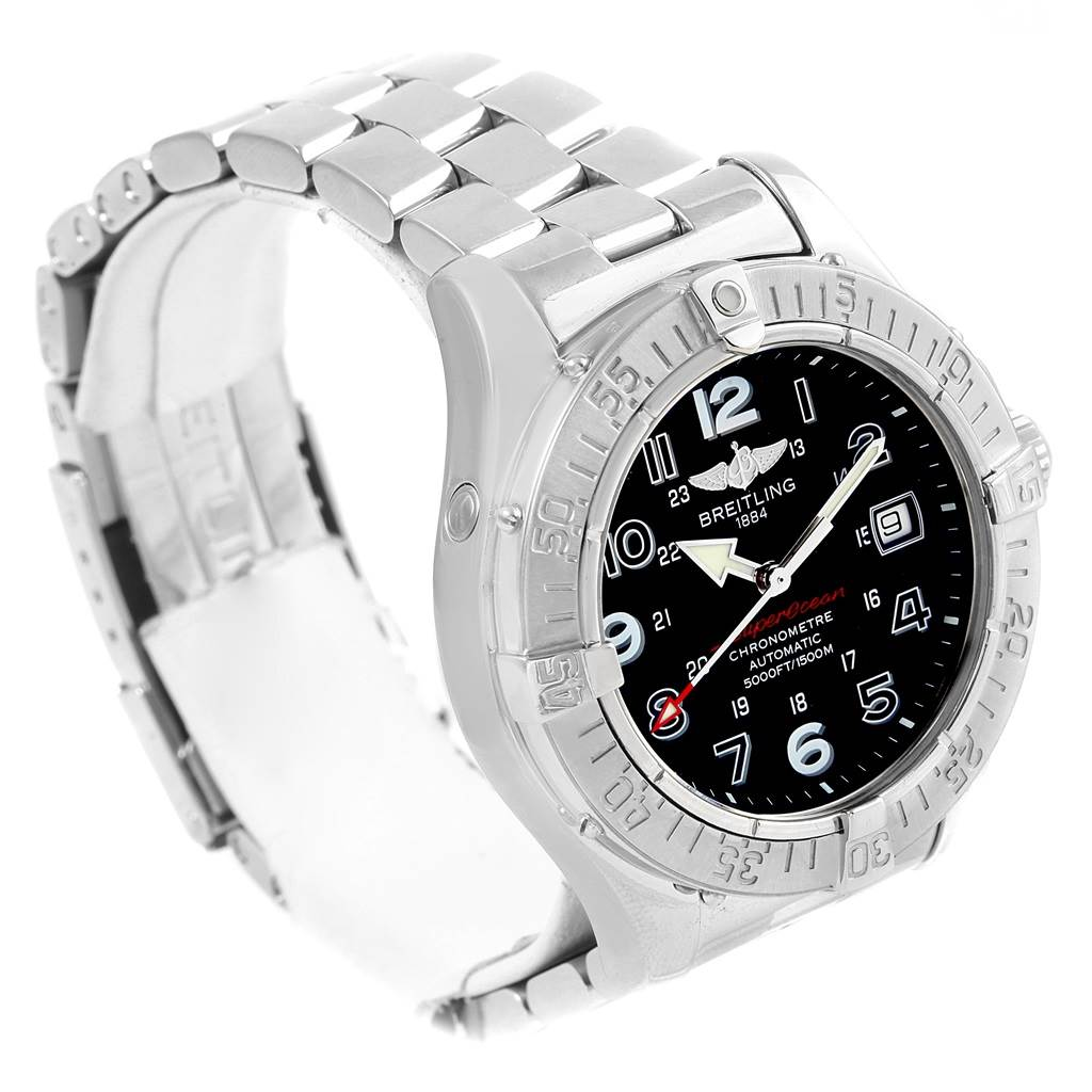 17283 Breitling Aeromarine SuperOcean Steel Mens Watch A13360 Papers SwissWatchExpo