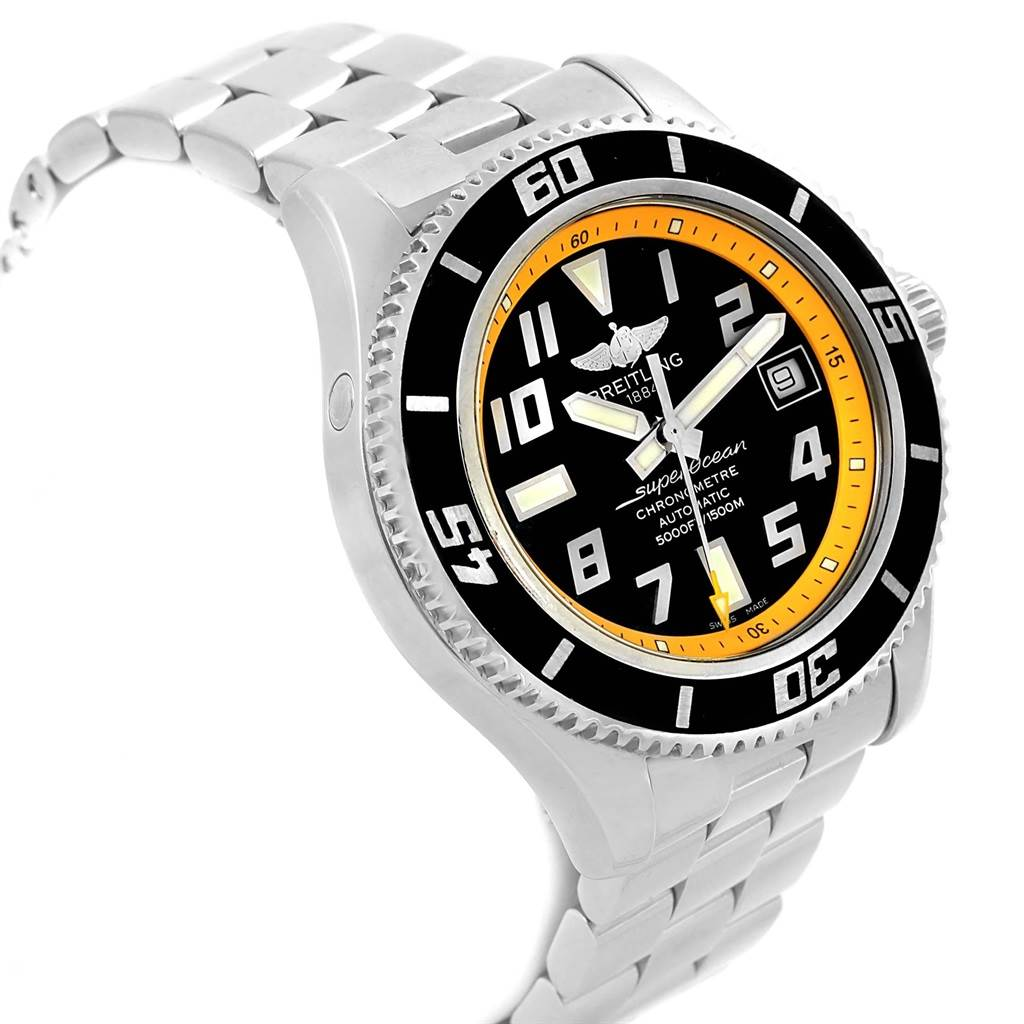 16844 Breitling Superocean 42 Abyss Black Yellow Automatic Mens Watch A17364 SwissWatchExpo
