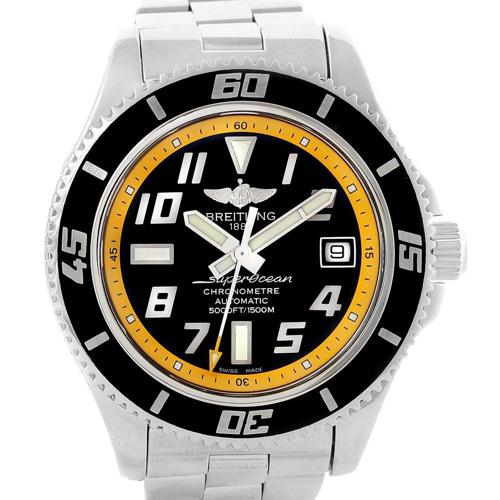 Breitling Superocean 42 Abyss Black Yellow Automatic Mens Watch A17364 SwissWatchExpo