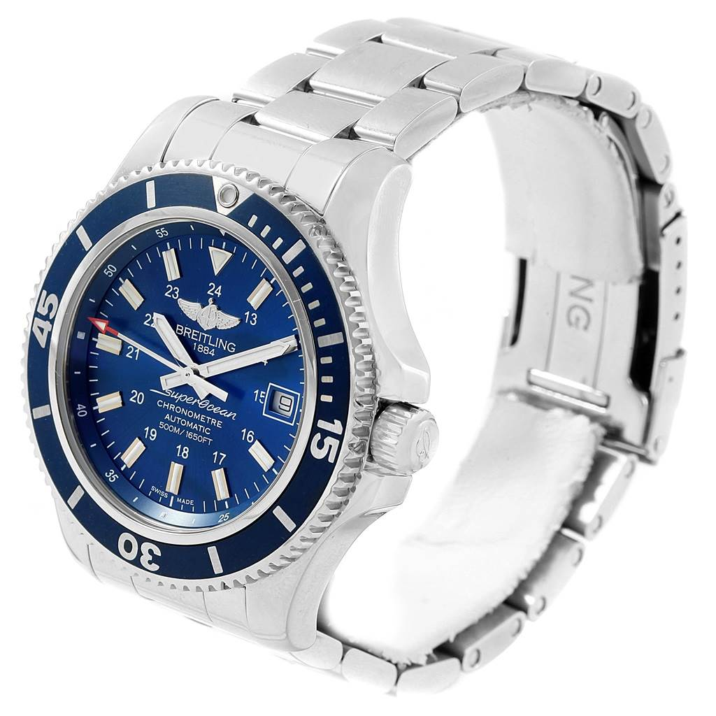 17511 Breitling Superocean II Blue Dial Steel Mens Watch A17365 SwissWatchExpo