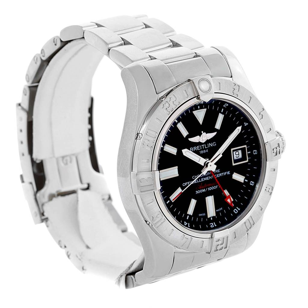 Breitling Aeromarine Avenger II GMT Black Dial Watch A32390 Papers SwissWatchExpo