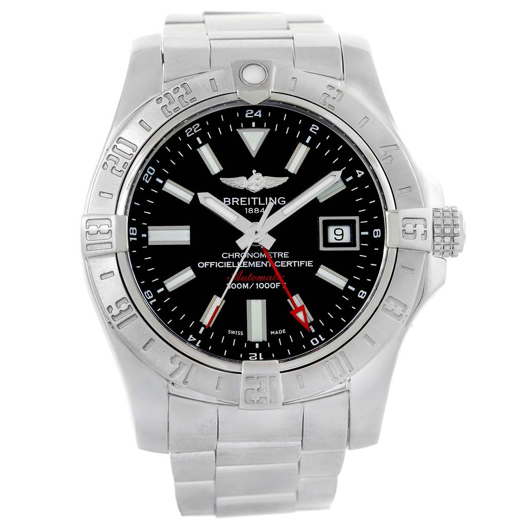 16366A Breitling Aeromarine Avenger II GMT Black Dial Watch A32390 Papers SwissWatchExpo