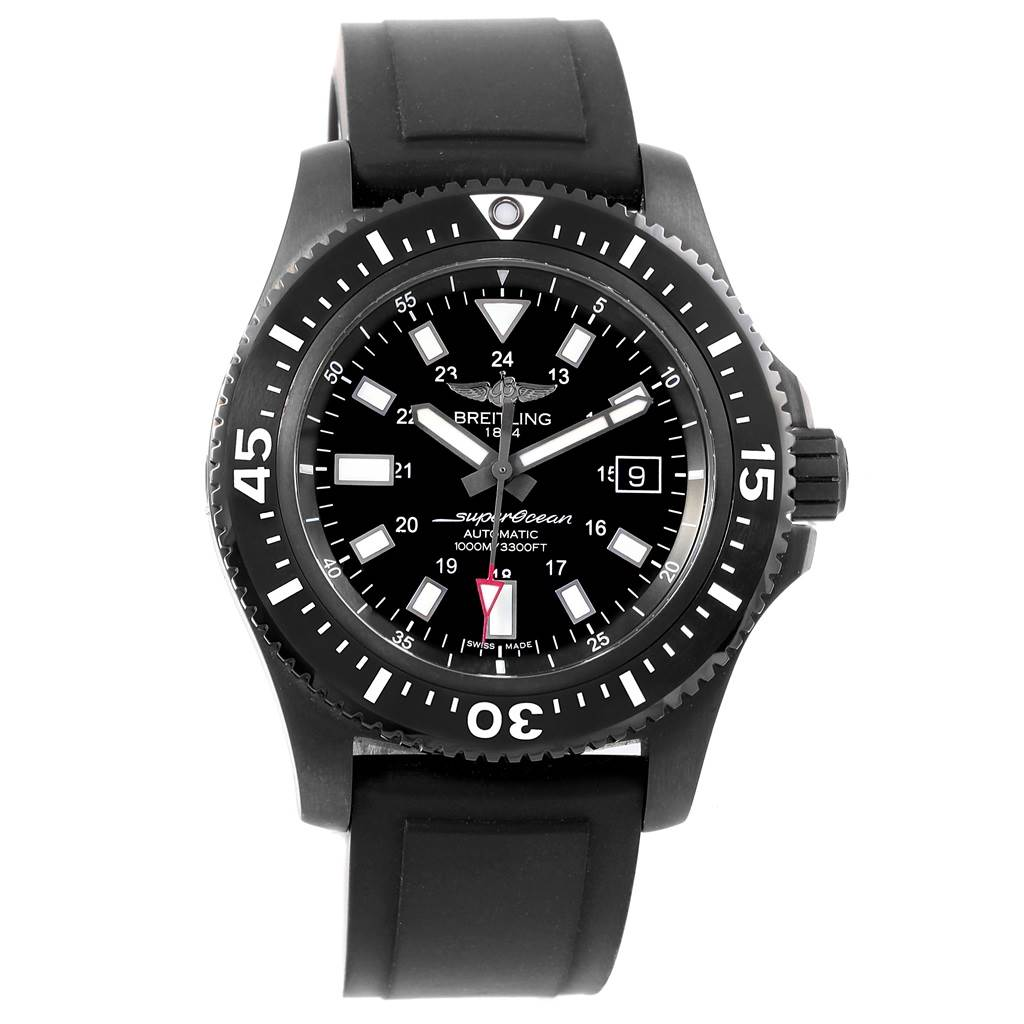 17570 Breitling Superocean 44 Special Blacksteel Mens Watch M17393 Box Papers SwissWatchExpo