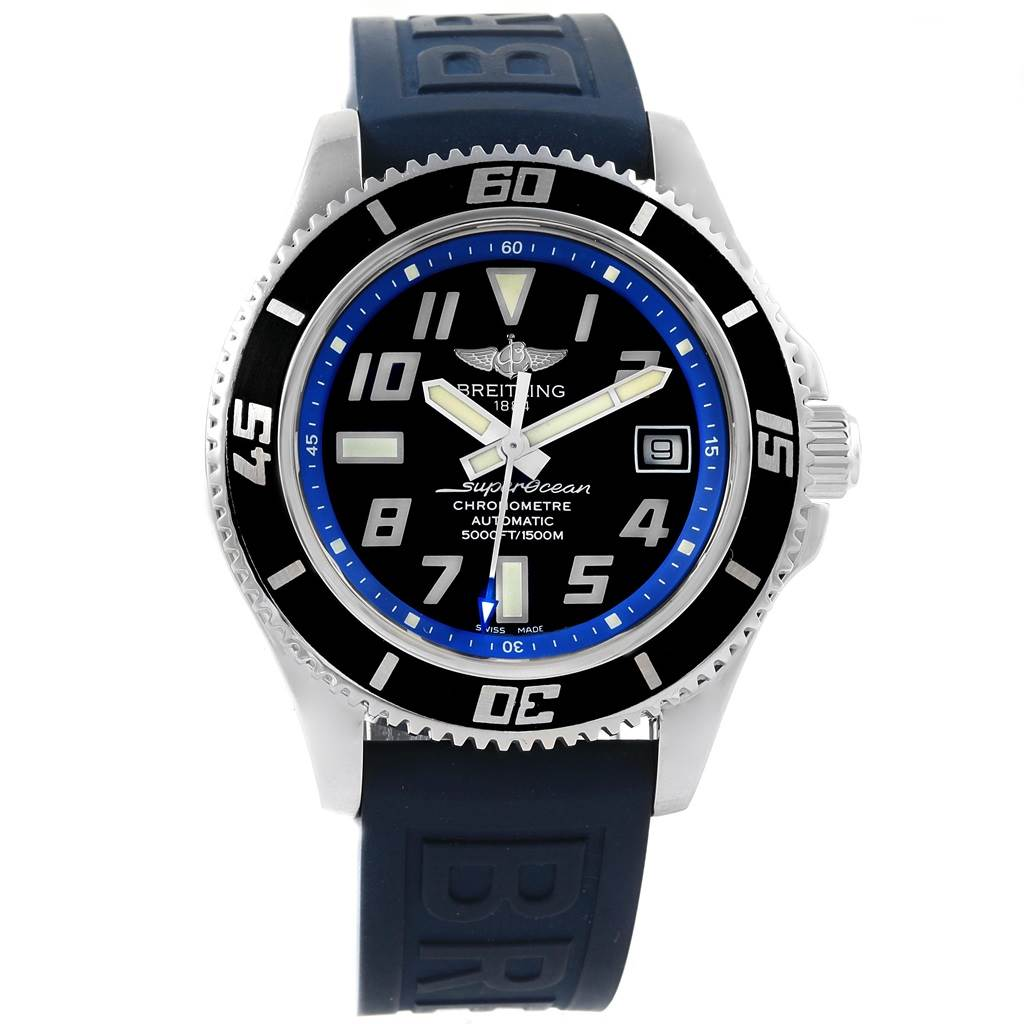 17694 Breitling Superocean 42 Abyss Black Blue Dial Watch A17364 Box Papers SwissWatchExpo