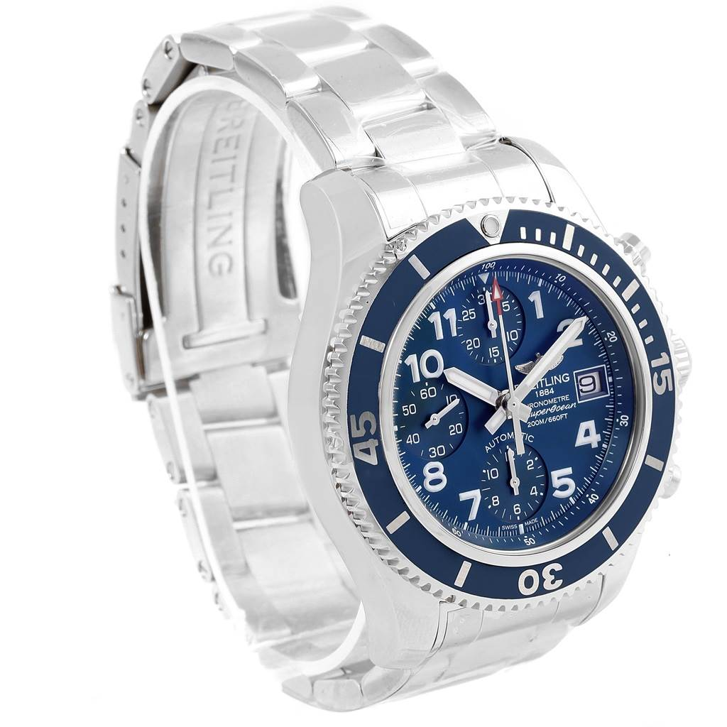 Breitling Superocean Chronograph 42 Blue Dial Mens Watch A13311 Unworn SwissWatchExpo